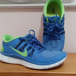 Blue/Green women's Nike Free 5.0 shoes. Size 8